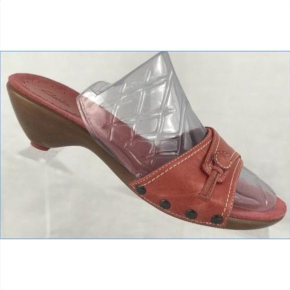 d8ba2e4acd893a Clarks Red Leather Pumps Heels Slides